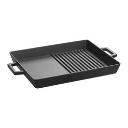 Lava Metal Dokum San. Tic. A.S. - Lava ECO 10 in. x 12 in. Enameled Cast Iron Combination Grill and Griddle Pan - Transform your stovetop into a Grill and a Griddle in seconds with Lava's ECO Series Enameled Cast Iron Combination Grill and Griddle Pan.  The 10 inch x 12 inch enameled cast iron cooking surface is one half Grill pan and one half Griddle surface.  You can grill a steak and Fry the onions at the same time.  Everything from Rib eyes to pancakes cooks evenly and perfectly every time. This perfect size enameled cast iron pan efficiently works over one or two stove top heating elements as cast iron evenly distributes heat over the pan's cooking surface.  ECO premium cast iron offers a super-tough matte enamel finish and uniquely designed grill bars that heat uniformly and efficiently ensuring superb cooking performance, easy cleanup and incredible durability.    ECO grill pans offer a non-reactive cooking surface that doesn't absorb or transfer flavors or other chemicals to your food like pre-seasoned cast iron or other non-stick surfaces can do.