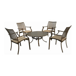 Panama Jack - Panama Jack Island Breeze 5-piece Gathering Group Set - Panama Jack's Island Breeze gathering group set incorporates a tubular aluminum frame in a unique powder coated espresso finish that will not rust. This versatile group set is weather proof and long lasting so you can entertain guests for years to come.