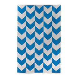 Fab Habitat - Metropolitan Indoor Cotton Rug, Heritage Blue & Bright White, 2x3 - So striking, so simple, this hand-woven rug will floor you with its bold, bright design. Not merely stylish, it's smart, too — made from 100 percent recycled cotton using sustainable practices and dyes.