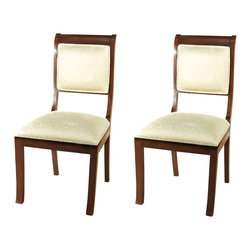 MBW Furniture - Pair of 2 Solid Dark Cherry Upholstered Cream Dining Side Chairs - •Kiln dried solid mahogany construction