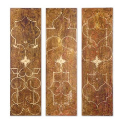 Uttermost Scrolled Panel I, Ii, Iii, S/3 - Frameless hand painted panels on hard board with outer edges painted black. Due to the handcrafted nature of this artwork, each piece may have subtle differences.