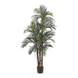 Nearly Natural - 5' Robellini Palm Silk Tree - Not for outdoor use. Natural trunks. Full with 30 individual leaf branches. You'll feel like you're in the jungle. Included container size: 6.5 in. W X 6 in. H32 in. W X 32 in. D X 5 ft. H (12.5lbs). Bring the beauty of the equator into your home with this exact reproduction of a Kenyan Robellini Palm Tree. Striking trunks spring forth from the base, the bark looking like it just got baked by the African sun. And the 30 individual leaf branches are ready to sway and dance in the breeze. To complete the illusion, get a recording of exotic birds and animals. ok, we're kidding, but if this tree doesn't make you feel like you're in the tropical jungle, nothing will.