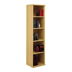 Bush Business - Single Bookcase in Light Oak - Series C - The 18 inch wide Light Oak Series C Single Bookcase is ideal anywhere space is at a premium. Featuring three adjustable shelves for flexibility and two fixed shelves for stability, this stylish bookcase will complement and enhance any contemporary office setting. Enjoy the compact styling of a single bookcase that features a light oak finish. It's a room brightener that will fit into any decor. Slim-line verticals are space-savers, too. * Two fixed shelves for stability. Three adjustable shelves for flexibility. Ships ready for easy assembly17.835 in. W x 15.354 in. D x 72.834 in. H