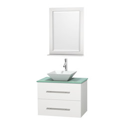 """Wyndham Collection - Centra Bathroom Vanity in White,GN Glass Top,Pyra White Sink,24"""" Mir - Simplicity and elegance combine in the perfect lines of the Centra vanity by the Wyndham Collection. If cutting-edge contemporary design is your style then the Centra vanity is for you - modern, chic and built to last a lifetime. Available with green glass, pure white man-made stone, ivory marble or white carrera marble counters, with stunning vessel or undermount sink(s) and matching mirror(s). Featuring soft close door hinges, drawer glides, and meticulously finished with brushed chrome hardware. The attention to detail on this beautiful vanity is second to none."""