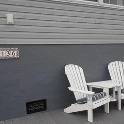 Seahorse Address Plaque - Shell framed address plaque for a New England beach house.