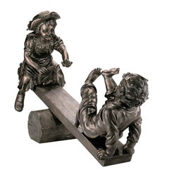 EttansPalace - Teeter Totter Childhood Memories Garden Sculpture Statue - The look and size of a garden bronze at a fraction of the cost. Who can forget the childhood thrill of playing on the teeter-totter, counting on a mischievous playmate while suspended in midair? The gleeful moment is captured perfectly in these nearly life-size children frozen in motion, complete with dimpled cheeks, flying hair, and the pure joy that defines the magic of childhood. Cast in 67 lbs. of high-quality designer resin and finished in a faux verdigris patina that is virtually indistinguishable from a gallery bronze, this exquisite, large-scale sculpture is sure to be the signature piece of your garden. Ships in 5 pieces.