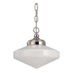 Design Classics Lighting - 10-Inch Polished Nickel Schoolhouse Mini-Pendant Light - FA4-15 / GE10 / A-15 - Polished nickel finish mini-pendant light with Glenfair schoolhouse opal white glass. Takes (1) 150-watt incandescent A21 bulb(s). Bulb(s) sold separately. UL listed. Dry location rated.