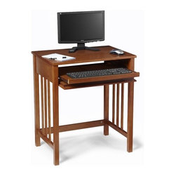 "Convenience Concepts - Mission Computer Desk - Features: -Desk.-Classic mission design.-Sliding keyboard tray.-Fits easy with any decor.-Will provide years of enjoyment.-Includes assembly tools.-Distressed: No.-Desk Type: Computer Desk; Writing Desk.-Top Finish: Oak.-Base Finish: Oak.-Accent Finish: Oak.-Powder Coated Finish: No.-Gloss Finish: No.-UV Finish: No.-Top Material : Manufactured Wood.-Base Material: Manufactured Wood.-Hardware Material: Steel.-Edge Detail: No.-Number of Items Included: 1.-Non-Toxic: Yes.-Water Resistant: No.-Stain Resistant: Yes.-Heat Resistant: No.-Style: Traditional.-Design: Standard Desk.-Hardware Finish: SILVER.-Eco-Friendly: Yes.-Cable Management: No.-Keyboard Tray: Yes.-Height Adjustable: No.-Drawers Included: Yes -Number of Drawers: 1.-File Drawer: No.-Drawer Glide Material : STEEL.-Drawer Glide Extension: 0.75 Extension Glides.-Safety Stop : Yes.-Soft-Close Drawer: Soft-Close.-Locking Drawer: No.-Core Removable Drawer Locks: No.-Ball Bearing Glides: No.-Joinery Type : Tongue and Groove.-Drawer Handle Design: Knob.-Drawer Weight Capacity: 7 lbs..-Pencil Drawer: No.-Jewelry Tray: No.-Exterior Shelving : No.-Cabinets Included: No.-Ergonomic Design: Yes.-Handedness: Both.-Scratch Resistant: Yes.-Chair Included: No.-Legs Included: Yes -Number of Legs: 4.-Leg Material: Manufactured Wood.-Leg Glides: No..-Casters Included: No.-Hutch Included: No.-Treadmill Included: No.-Cork Back Panel: No.-Modesty Panel : No.-CPU Storage: No.-Built In Outlet: No.-Built In Surge Protector: No.-Light Included: No.-Finished Back: No.-Tipping Prevention: No.-Modular: No.-Lifestage: Teen; Adult.-Application: Home Office.-Commercial Use: No.-Weight Capacity: 25 lbs.-Solid Wood Construction: No.-Wood Tone: Medium Wood.-Swatch Available: No.-Recycled Content: No.Dimensions: -Dimensions: 30'' Height x 26'' Width x 18'' Depth.-Overall Product Weight: 27 lbs.-Overall Height - Top to Bottom: 30.5"".-Overall Width - Side to Side: 26.125"".-Overall Depth - Front to Back: 18.125"".-Drawer: -Drawer Interior Height - Top to Bottom: 5.375"".-Drawer Interior Width - Side to Side: 21.5"".-Drawer Interior Depth - Front to Back: 14.625""..-Desktop Height: 30.35"".-Desktop Width - Side to Side: 26.125"".-Desktop Depth - Front to Back: 18.125"".-Knee Space Height: 24.25"".-Knee Space Width: 22.625"".-Knee Space Depth: 17.625"".-Legs: -Leg Height: 29.5"".-Leg Width - Side to Side: 1.25"".-Leg Depth - Front to Back: 1.25""..Assembly: -Assembly required."