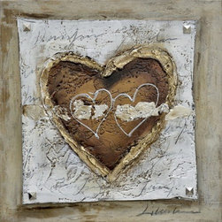 YOSEMITE HOME DECOR - The Healing Heart II Art Painted on Canvas - Metallic tones of gold and silver incorporated into understated earth tones create interesting details in this piece.  Heavy texture also adds the dimension that makes this piece even more intricate.