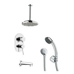 Remer - Sleek Round Chrome Shower System - Single function tub and shower faucet.