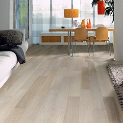 Kährs Spirit Arctic Oak Hardwood Flooring - One strip design, matte finish, slight color variation, brushed, four sided bevel, may contain some knots. Features Kährs ECO Core.