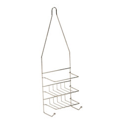 Metal Shower Caddy Small Size Chrome - This small size shower caddy is made of durable, stainless steel and features 2 shelves and hanging hooks for keeping shampoos, conditioners, soap, razors closer and within reach. Snap ring lock keeps the caddy stable on most pipes. Dimensions are height of 19-Inch, width of 6-Inch and depth of 3.9-Inch. No assembly required. Clean with warm soapy water. Color chrome. This small size shower caddy will be a welcomed addition to your shower and will offer useful storage in any bathroom! Complete your decoration with other products of the same collection. Imported.