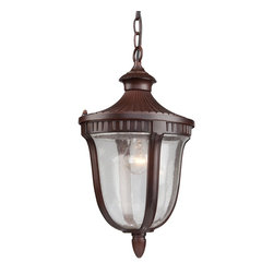 Artcraft Lighting - Artcraft Lighting Palermo Traditional Outdoor Hanging Light X-AM5208CA - Outdoor chain pendant from Palermo family with seeded clear glassware, in rich mahogony finish