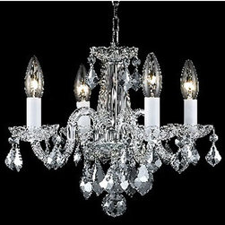 Elegant Lighting - Rococo Chrome Four-Light Chandelier with Clear Royal Cut Crystals - -Royal Cut crystal is a combination of high quality lead free machine cut and machine polished crystals and full-lead machined-cut crystals to meet a desirable showmanship of an authentic crystal light fixture.  All fixtures are recommended to be professionally hung and supported independently of the outlet box. Consult an electrician for guidance to determine the correct hanging procedure.   - Crystals may ship separately and some assembly is required.  -Depending on the size & design the assembly can be time consuming, but is well worth the effort.  -Crystal Trim:Royal Cut  -Crystal Color:Crystal (Clear)  -Product includes:4.5 ft.of chain/wire Elegant Lighting - 7804D15C/RC