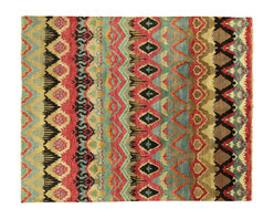 Manhattan Rugs - New Stunning Multi-Color Ikat 8x10 Veg Dyed Hand Knotted Persian Wool Rug H3664 - This Is a True Hand Knotted Oriental Rug. It Is Not Hand Tufted with Backing, Not Hooked or Machine Made. Our Entire Inventory Is Made of Hand Knotted Rugs. (All We Do Is Hand Knotted)