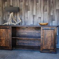Reclaimed Wood Console with Railroad Spike Handles -
