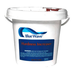 Blue Wave - Blue Wave Hardness Increaser - 25 lb. - Hardness increaser use as needed to raise the hardness (Calcium) level in your pool to the ideal range. Prevents water from becoming corrosive and damaging your pool plumbing and heater. Stops staining and etching of pool surfaces caused by low hardness levels. Great for use in areas where soft water is a problem. Recommended dosage: 5 lbs. Per 10,000 gallons to raise the hardness to approximately 40 ppm