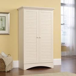 Sauder - Harbor View Storage Cabinet in Distressed Antiqued White - The perfect easy-living cottage look, an eclectic piece of graceful yet simple detailing is highlighted by an antiqued paint finish. Features: -Storage cabinet. -Harbor view collection. -Distressed antiqued white finish. -Hidden storage behind doors. -Four adjustable shelves. -Full upper shelf. -Solid wood knobs. -Turned feet. -Made in USA. -Assembly required. -Manufacturer provides 5 year warranty.
