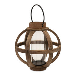 iMax - Garrett Wood Lantern - Light up your world with a fir candleholder with a cylindrical glass hurricane and iron accents and hanger.