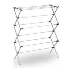 Honey Can Do - Honey-Can-Do Oversize Folding Drying Rack - This sleek, silver-coated steel drying rack is sturdy and rust-resistant. Unlike a wall-mounted unit, this portable rack can be used anywhere including the laundry room, balcony, porch, bathroom, or kitchen making an attractive drying space out of any room in your home. The space-saving unit offers 28.5-linear feet of drying area when fully assembled and folds down to 3-inches flat for easy storage when not in use. Save on energy costs while protecting the environment and increasing the life of your garments.