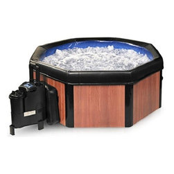 Comfort Line Products Spa-N-A-Box Faux Wood Electric Portable Spa Hot Tub - The easy, affordable way to enjoy a soothing spa experience anywhere, anytime. The portable Spa-N-A-Box sets up in about 20 minutes and plugs into a regular household outlet. Its micro air-jets provide a vigorous body massage to soothe aching muscles - at a fraction of the cost of traditional hot tubs