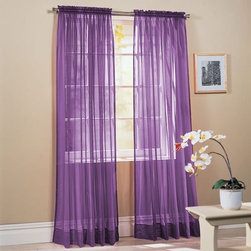 2-Piece Solid Lavender Purple Sheer Window Curtains - I put these sheers over the mini-blinds in my girls' room and tied them with purple ribbon that I had on hand already.