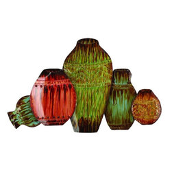 "Benzara - Metal Vase Wall Decor - Metal Vase Wall Decor is an excellent anytime low priced wall decor upgrade option that is in high demand as modern age low budget home interior decoration item. It is shows the vases of Cairo metal wall art decor sculpture.; Material: Rust free premium grade metal alloy and vase; Color: Green, red and brown; Exhibits special liking for wall art; Classic wall decoration; Designed for elite garden decor enthusiasts; Dimensions: 33""W x 20""H"