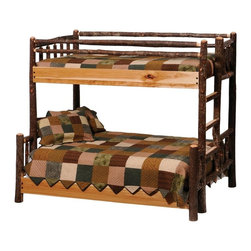 Fireside Lodge Furniture - Hickory Log Bunk Bed (Single-Single - Left - Finish: Single-Single - Left - EspressoNOTE: ivgStores DOES NOT offer assembly on loft beds or bunk beds. Hickory Collection. Mattress, bed sheet, shams and pillows not included. Full length hard wood rails for a sturdy construction. All Hickory Logs are bark on and kiln dried to a specific moisture content. Clear coat catalyzed lacquer finish for extra durability. All headboards are 65 in. High and foot boards are 35 in. high. 2-Year limited warranty. Single over single: 85 in. L x 43 in. W x 65 in. H (210 lbs.). Single over double: 85 in. L x 59 in. W x 65 in. H (330 lbs.). Single over queen: 89 in. L x 65 in. W x 65 in. H (360 lbs.). Double over double: 89 in. L x 83 in. W x 65 in. H (500 lbs.). Double over queen: 95 in. L x 77 in. W x 65 in. H (5400 lbs.). Assembly Instructions. Bunk Bed Warning. Please read before purchase.