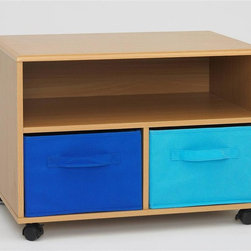4D Concepts - Boy's TV Cart in Beech with 2 Blue Canvas Dra - This TV cart will look great and serve multiple purposes in a little boys room. Beech-finished cart holds up to a 27-inch TV. Below the television, your little one has two canvas totes in navy and pale blue to store video games, toys, remotes and more. Slightly rounded corners. Beech finish. Uniquely styled TV cart. Vacuumed formed top with gently rolled edges give the cart that added touch of style. Unit is accented with foldable navy and light blue canvas drawers. Drawers rest gently on the shelf. Have canvas handles on both sides of the drawer for pulling out of the unit, or pulling completely out. large opening beneath the TV shelf. Constructed of metal and Composite wood with durable PVC laminate. Holds most 27 in. TV's. Clean with a dry non abrasive cloth. Some assembly required. 30 in. W x 18 in. D x 18 in. HThis uniquely styled TV cart is great for any room in the home. The vacuumed formed top with gently rolled edges give the cart that added touch of style. The unit is accented with foldable navy and light blue canvas drawers that are great storage for games, play stations, and all of your gaming needs.