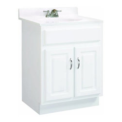 """DHI-Corp - Concord White Gloss Vanity Cabinet with 2-Doors, 30"""" by 18"""" by 30"""" - The Design House 531277 Concord White Gloss Vanity Cabinet features a durable white gloss finish and satin nickel hardware. Clean lines and concealed hinges. The 2-door construction gives you plenty of storage for toiletries to keep your countertop free of clutter. Easily add an additional shelf inside this cabinet for even more storage. Measuring 30-inches by 18-inches by 30-inches, this vanity can fit into a small to medium sized bathroom, while providing ample storage space. Modern construction meshes with subtle vintage details for an elegant addition to your bathroom. This product is perfect for remodeling your bathroom and matches granite countertops and colored walls. Vanity top is not included with this product. The Design House 531277 Concord White Gloss Vanity Cabinet has a 1-year limited warranty that protects against defects in materials and workmanship. Design House offers products in multiple home decor categories including lighting, ceiling fans, hardware and plumbing products. With years of hands-on experience, Design House understands every aspect of the home decor industry, and devotes itself to providing quality products across the home decor spectrum. Providing value to their customers, Design House uses industry leading merchandising solutions and innovative programs. Design House is committed to providing high quality products for your home improvement projects."""