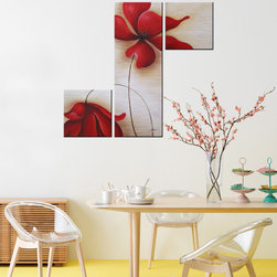 None - 'Red Flowers 255' Hand-painted Canvas Art Set - C75Red Flowers 255 is a delightful,three-piece,modern,canvas art display that takes a close-up look at nature. Hand-painted and gallery-wrapped,this vibrant still-life grouping in brilliant reds and beiges will be a focal point in any room.