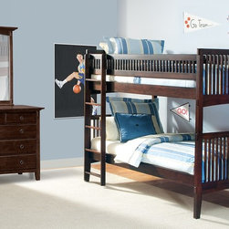 Wentworth Dark Wood III Collection - Play Time. The simple, sturdy vertical lines of our Wentworth Light III Twin bunk bed speak to the motifs of the Arts and Crafts design movement. The mortise and tenon accents bring to mind the related mission-furniture style, and chocolate-finished mersawa veneers offer a rich, contemporary look. Slatted bunkbed sides and natural wood-toned ladder add a rustic finishing touch. (Mattress set and pillows are not included.)