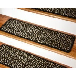 "Dean Flooring Company - Dean Premium Carpet Stair Treads - Black Spotted Leopard 30"" x 9"" - Dean Premium Carpet Stair Treads - Black Spotted Leopard 30"" x 9"" : Beautiful Plush Premium Carpet Stair Treads by Dean Flooring Company. Black Spotted Leopard. Luxurious and resilient texture. High fashion design. Densely woven construction. Uncommon softness and durability. Made from premium quality broadloom. Stylish enough to compliment the finest decors. Stair treads are approximately 30 inches by 9 inches. Set includes 13 pieces. Each tread is machine serged with color matching yarn. Helps prevents slips on your hardwood stairs Provides warmth and comfort Extends the life of your hardwood stairs. We can also list custom matching hallway runners and area rugs upon request. Easy do-it-yourself installation with our exclusive double-sided mesh carpet tape (sold separately)."