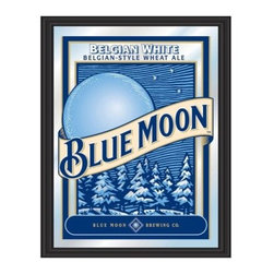 Blue Moon Framed Mirror - 15 x 20 - The officially licensed Blue Moon Framed Mirror would look great on the wall of your home bar. This printed mirror features a classic black wrapped wood frame and mirrored glass printed with the blue and white Blue Moon beer logo. It measures 15W x 20H inches overall and is a fun gift idea, too.