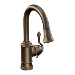 Moen - Moen S6208ORB Oil Rubbed Bronze High Arc Pulldown Single Mount Bar Faucet 1-Hand - The Woodmere collection's flowing design provides an uncluttered appearance to your countertop. The exclusive patented pause button easily suspends water flow from the wand.