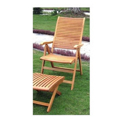 International Caravan - Patio Folding Chair - Set of 2 - Set of 2. Footrest not included. All weather resistant and UV light fading protection. Folding for easy transportation and storage. Two freeport and five multi positions for various comfort zones. Made from premium outdoor yellow balau hardwood. Premium dual stain finish. Made in Viet Nam. No assembly required. 24 in. W x 28 in. D x 42 in. H (32 lbs.)Whether it's a garden, patio or outdoor event this would be an ideal accent to have.