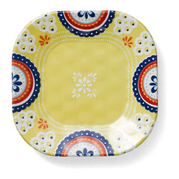 Q Squared NYC - Montecito Blue Appetizer Plate, Icon Set/6 - Transport your dining table to historical Montecito with the beautiful, vibrant colors of this collection, inspired by the intricate tiles and textures of the romantic city.