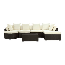 """Montana 5-Piece Outdoor Patio Sectional Set - Nestled among the expanse of the Rocky Mountains lies a land of big skies and even bigger dreams. With its assorted pieces to fit every seating position, the Montana set is symbolic of the treasured nature of its namesake. While Montana is termed """"Big Sky Country"""" and the """"Land of the Shining Mountains,"""" the set itself is the stuff dreams are made of. Montana is comprised of UV resistant rattan, a powder-coated aluminum frame and all-weather cushions. The set is perfect for cafes, restaurants, patios, pool areas, hotels, resorts and other outdoor spaces."""