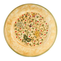 Artistica - Hand Made in Italy - Primavera: Large Round Plate - Primavera: This product is part of our all new Primavera collection featuring a delicate design of spring (primavera) flowers over a new sponged base hand painted in a warm yellow tone.