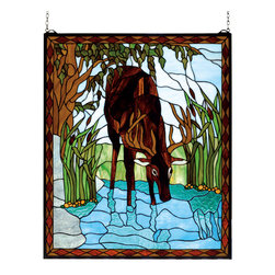 Meyda - 25 Inch W x 30 Inch H Deer in River Windows - Color theme: Aq amber Lt blue
