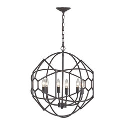 Sterling - Sterling 140-005 Strathroy 6 Light Orb Chandelier With Honeycomb Metal Work By S - Sterling 140-005 Strathroy 6 Light Orb Chandelier With Honeycomb Metal Work By Sterling