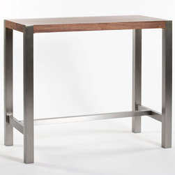 Moe's Home Collection - Riva Bar Table Walnut - Contemporary Bar Table in Walnut Veneer with Stainless sleet base. Seats 4