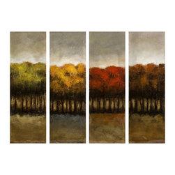 Imax - The Four Seasons Four Canvas Decor Oil Painting Wood Decor - The four seasons four canvas decor oil painting wood decor Imax 70138
