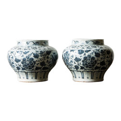 Marco Polo Imports - A Pair Of Dutch Delft Ware Vases - This pair of blue & white delftware vases, crafted from quality porcelain, conveys a traditional atmosphere to any room of your choice.