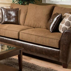 Chelsea Home - Union Upholstered Sofa - Includes four toss pillows. Modern style. Medium seating comfort. Chocolate, Tokyo oak cover. 100% poly, PU fabric. Solid kiln dried hardwood frame. Stress points are reinforced with blocks to secure a long lasting frame. Sinuous springing system is made from reinforced 16 gauge border wire to maintain a uniform seating. Double springs are used on the ends nearest the arms to give balance in the seating. Cushions made from hi-density foam cores with Dacron polyester wrap to provide longer life. Made in USA. No assembly required. 90 in. L x 38 in. W x 40 in. H (120 lbs.)