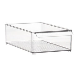 Large Deep Fridge Bin - Ribbed bin in durable, view-through plastic with built-in handle and feet organize your favorite foods while maximizing fridge space.Clear plasticHand washMade in USA