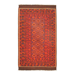 "Torabi Rugs - Flat-weave Shirvan Red Wool Kilim 8'5"" x 14'1"" - These Caucasus style rugs and sumaks are primarily hand woven by nomadic tribal weavers in Afghanistan. They have a very bold geometric design and multiple borders, which borrow largely from Turkoman and Tajik tribal influences."