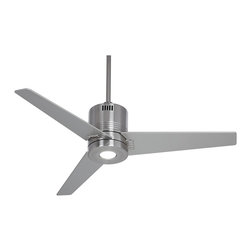 """Casa Vieja - Contemporary 44"""" Casa Metro™ LED Brushed Nickel Ceiling Fan - Get a clean and modern look for your home with this handsome ceiling fan design. From the Casa Vieja Metro ceiling fans collection the brushed nickel finish design comes with three tapered blades and an integrated LED light. Features three speeds a 14 degree blade pitch and hand held remote control. Brushed nickel finish. Three tapered silver finish blades. 44"""" blade span. 14 degree blade pitch. 153 x 12 mm motor size. Hand held remote control included. Integrated light. Includes one 5 watt LED. 315 lumens; 2700K color temperature. LED light is on/off operation. 5"""" downrod included. Fan height 14"""" ceiling to blade (with 5"""" downrod). Fan height 15 1/4"""" ceiling to bottom of light (with 5"""" downrod).  Brushed nickel finish.  Three tapered silver finish blades.  44"""" blade span.  14 degree blade pitch.  153 x 12 mm motor size.  Hand held remote control included.  Integrated light.  Includes one 5 watt LED integrated light kit.   315 lumens - 2700K color equivalent to 40 watts incandescent.   LED light is on/off operation.  5"""" downrod included.  Fan height 14"""" ceiling to blade (with 5"""" downrod).  Fan height 15 1/4"""" ceiling to bottom of light (with 5"""" downrod)."""