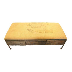 Used Ottoman Upholstered in Vintage French Jute - Take a Seat!    This amazing piece is great as an ottoman or a bench for extra seating.  The three drawers are vintage fruit crates and the top has been upholstered in vintage French Jute.