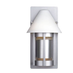 """Philips Forecast Lighting - Lakeview Small Outdoor Wall Fixture in Vista Silver - The Lakeview Collection presents contemporary outdoor wall fixtures that have a slight country twist mixed in with them. The vista silver finished body of the fixture is tastefully divided into sections which allow light to draw attention to these features. The etched white opal shade is a fantastic finishing piece for the fixture as a whole. A satin copper shade is available, but sold spearately. Features: -Small outdoor wall fixture -Lakeview Collection -Vista silver finish with etched white opal glass -Satin copper shade accessory available - sold separately -Two 75W medium base incandescent bulbs - not included -Optional copper shade accessory available - sold separately -Wet location listed -ADA compliant -Overall dimensions: 10.75""""H x 6""""W x 4""""D"""